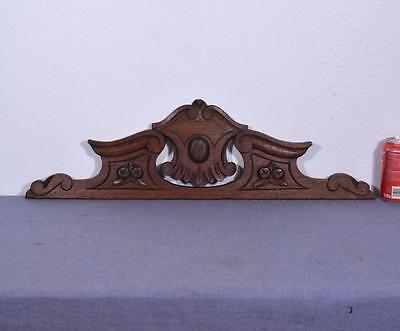 """28"""" French Antique Solid Oak Wood Crest/Pediment/Crown"""