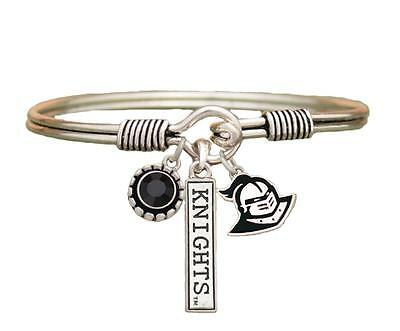 Central Florida Golden Knights 3 charm Black Crystal Silver Bracelet Jewelry UCF Ucf Golden Knights