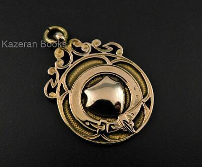 Vintage Solid 9ct Gold Pocket Watch Chain Fob Medal St Annes BM Imperial AF 1928