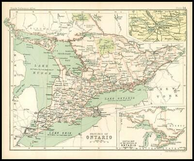 c1912 Map of the PROVINCE OF ONTARIO Chart Regions Canada (BS59)