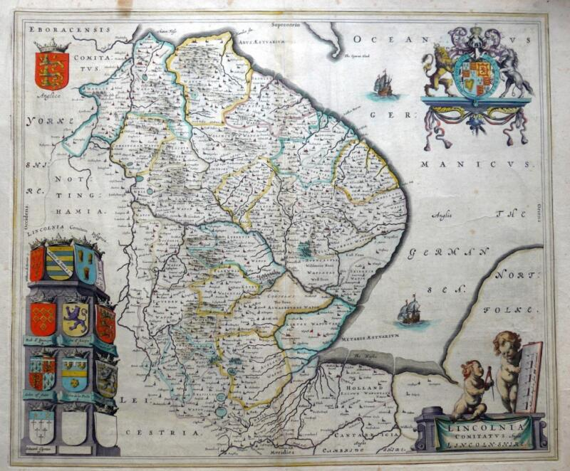 LINCOLNSHIRE  BY JOAN BLAEU c1654 GENUINE COPPER ENGRAVED ANTIQUE MAP