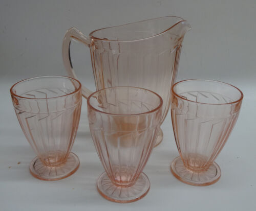 Sierra Pitcher and 3 Tumblers Pink Jeannette Glass
