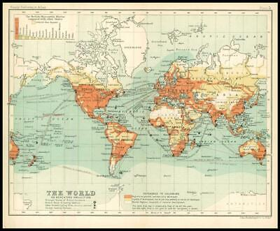 c1912 THE WORLD MAP on Mercators Projection Barren Regions Developed areas (BS5)