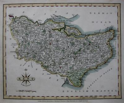 KENT MAIDSTONE DOVER RAMSGATE MARGATE  BY JOHN CARY GENUINE ANTIQUE MAP  c1793