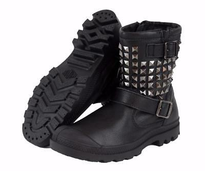 New Women's Palladium Poundy Leather Studded Boots US Size 6-11 Black 93263-001