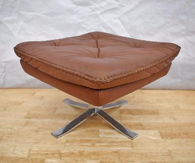 Mid Century Retro Danish Brown Leather Swivel Foot Stool Ottoman 1960s 70s