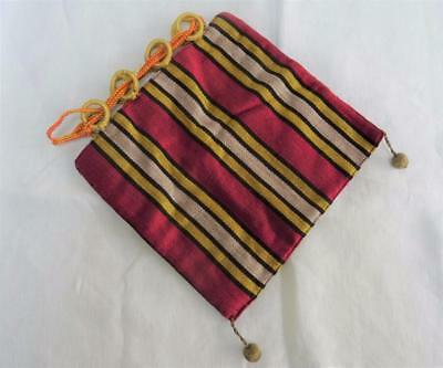 Antique Regency Red, Gold & White Striped Fabric Purse Reticule c1820