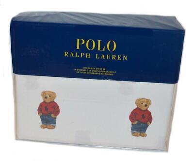 Ralph Lauren Polo Teddy Bear Boy 4P Queen Sheet Set New Cotton White Blue Red