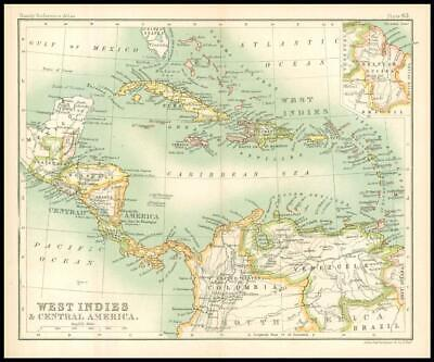 c1912 Map of the WEST INDIES & CENTRAL AMERICA Chart Regions (BS67)