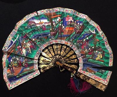 Antique Chinese Canton 1000 Faces Gilt Lacquer Fan Original Box