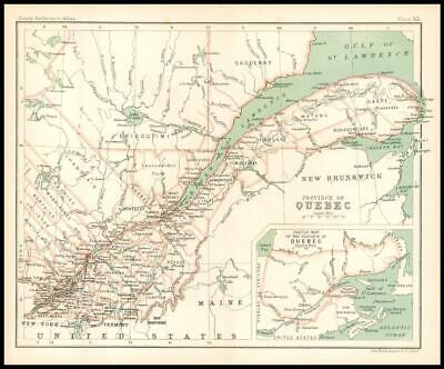 c1912 Map of the PROVINCE OF QUEBEC Chart Regions Canada (BS58)