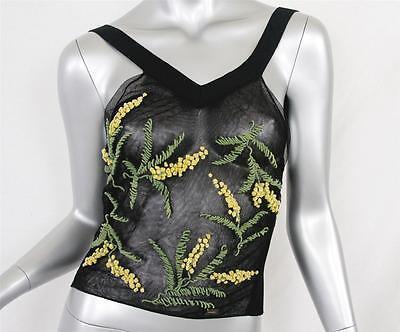 CHANEL Black Flower Net See-Through V-Neck Short Shirt Tank Halter Top Blouse 36