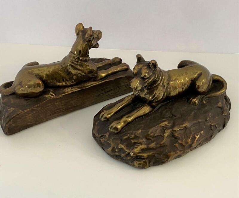 Bronze Clad Antique Bookend Set 2 Dog Galvano Marion Great Dane 1920