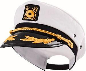 ADULT YACHT BOAT SHIP SAILOR CAPTAIN COSTUME HAT CAP NAVY MARINE ADMIRAL  WHITE de6b11413ecd
