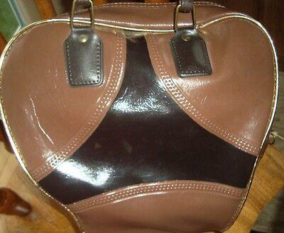 Vintage One Ball Bowling Bag Brown Gold Trim Light Bag. Awesome Bag