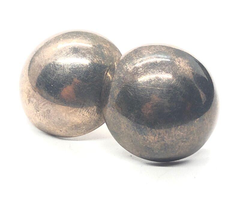 Vintage Sterling Silver Earrings 925 Round