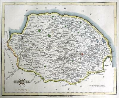 NORFOLK  NORWICH BY JOHN CARY GENUINE COPPER ENGRAVED ANTIQUE MAP  c1793