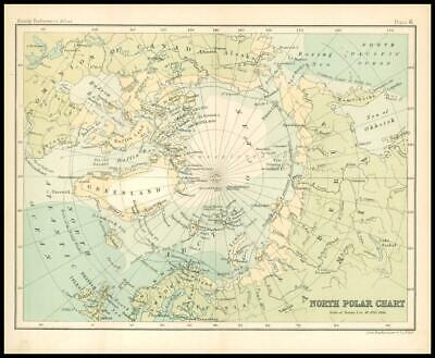 c1912 Map of the NORTH POLE POLAR Chart Regions (BS6)