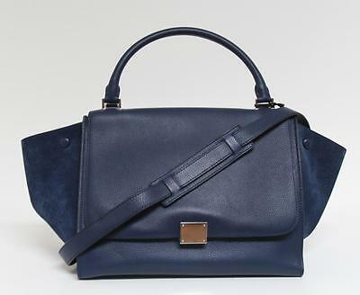 New $2800 Celine Medium Trapeze Blue Luggage Drummed Calf Leather