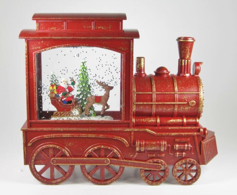 Musical Santa in Winter Scene Christmas Train Snow Globe LED Lighted