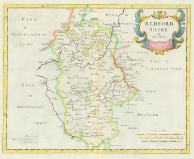 1722 Original Antique Map - BEDFORDSHIRE by Robert Morden HAND COLOUR