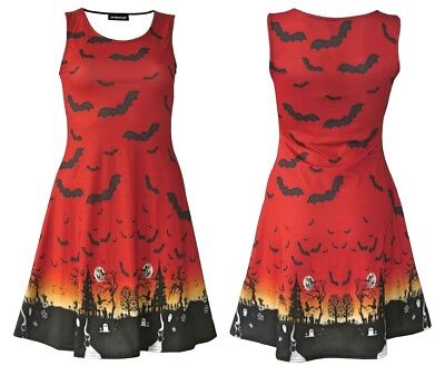 Halloween Red Orange Ombre Bats Spooky Cat Grim Reaper Haunted House Flare Dress