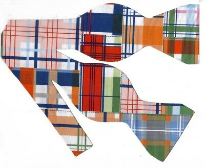 Madras Plaid Bow tie / Nautical Patchwork / Red, Blue, Orange / Self-tie Bow tie Madras Bow Tie