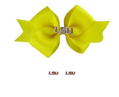 LSU Tigers Rhinestone Charm Yellow Hair Bow and Purple Post Earrings Gift (Lsu Tigers Post Earring)
