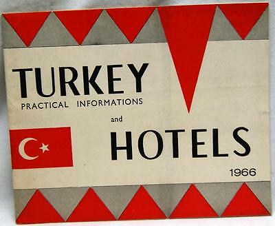 Turkey Hotel Lodging Informational Brochure Guide 1966 Vintage Tourism Travel