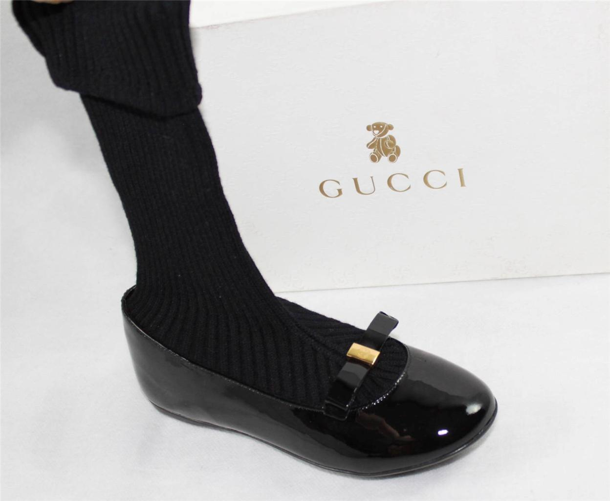 AUTH $395 GUCCI  Girl's Black Legging Boot 31/US13