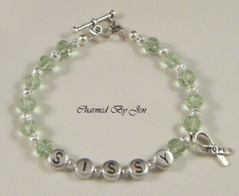 LYMPHOMA Awareness PERSONALIZED Name Bracelet w/ Charm
