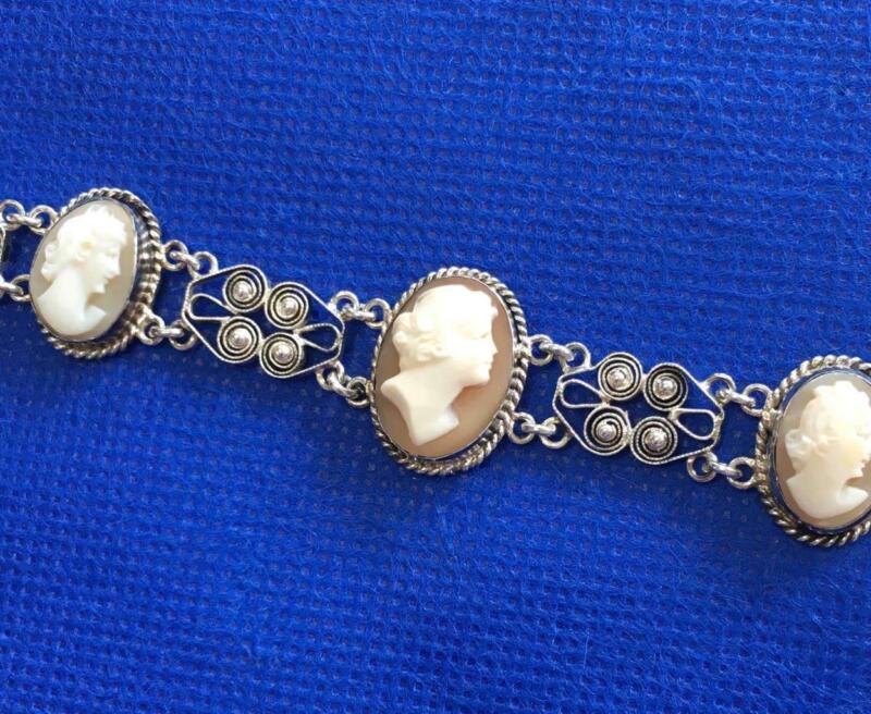 Vintage / Antique Victorian Era 800 Silver Five Carved Shell Cameo Bracelet