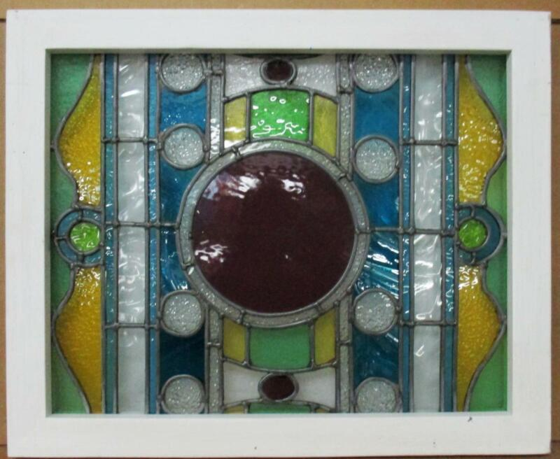 "VICTORIAN ENGLISH LEADED STAINED GLASS WINDOW Very Colorful 24.25"" x 19.75"""