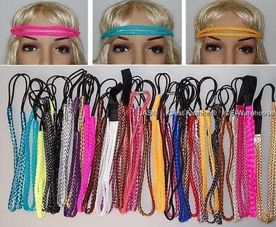 Braided Plaited Disco 80s 80's Disco Party Hair Head Band Hairband Headband