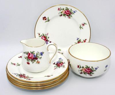 6 x Crown Staffordshire Floral Tea Plates, Sugar Bowl & Milk Jug, c1920, Perfect