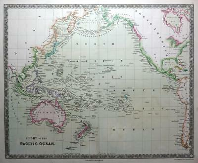 PACIFIC OCEAN CHART  BY DOWER TEESDALE  ENGRAVED MAP ORIGINAL HAND COLOUR  c1844