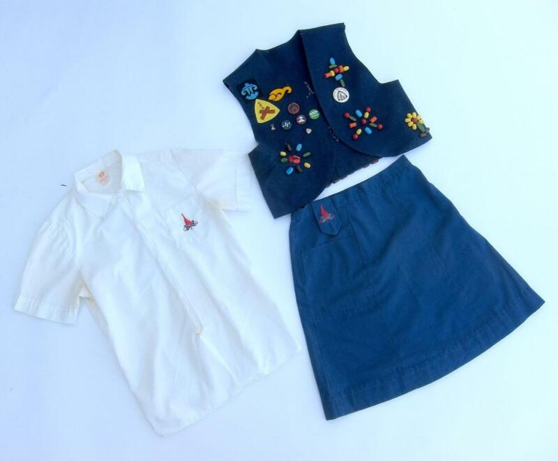 Vintage CUTE Official Campfire Girls Uniform With Pins Beads Patches LOOK!