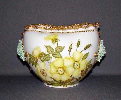 ANTIQUE KNOWLES TAYLOR & KNOWLES LOTUS WARE BOWL VASE HP FLORAL