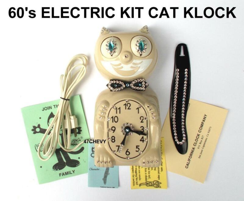 ELECTRIC 60s IVORY KIT CAT KLOCK-KAT CLOCK-VINTAGE-ORIGINAL MOTOR REBUILT-USA