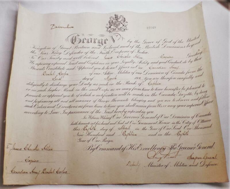 WWI KING GEORGE V GREAT BRITAIN SIGNED DATED 1918 MILITARY APPOINTMENT DOCUMENT