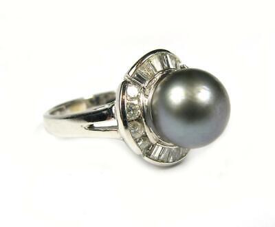 Cocktail Ring 10 mm Tahitian Gray Black Pearl 0.72CT VS2 Diamond 14K white Gold Diamonds 10mm Tahitian Pearl Ring