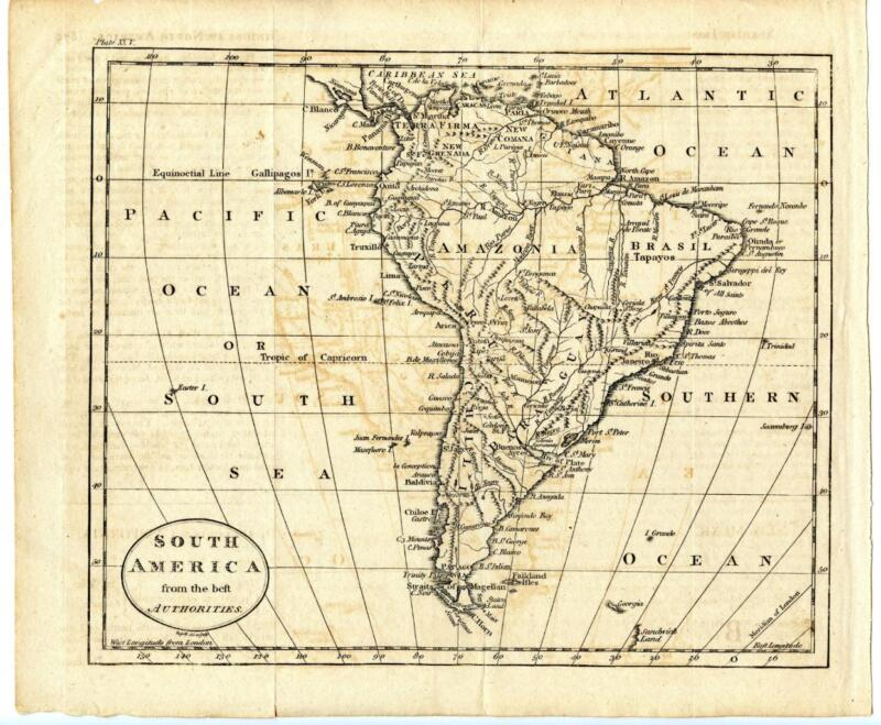 c. 1794 Copper Engraving Hand Colored Map South America From Best Authorities