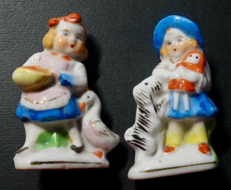 2 Antique Vintage Occupied Japan Figurines Young Girls with Duck Dog Doll