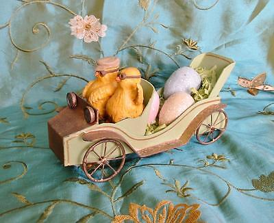 Bethany Lowe Easter Vintage Style Chicks in Car Hauling Eggs
