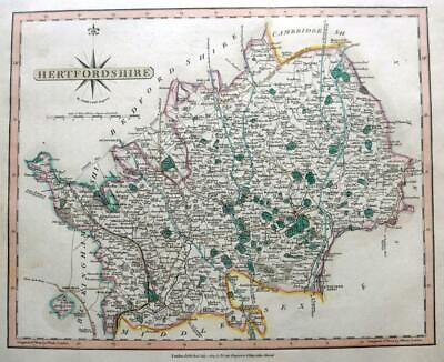 HERTFORDSHIRE HERTFORD  BY JOHN CARY GENUINE ANTIQUE ENGRAVED  MAP  c1809