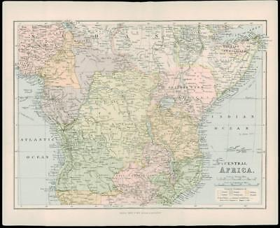 1900 Original Antique Colour Map of CENTRAL AFRICA Congo Somaliland BCA (30)