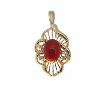 GENUINE NATURAL OVAL CABOCHON RED CORAL DIAMOND SLIDE PENDANT 14K YELLOW GOLD Oval Ruby Slide