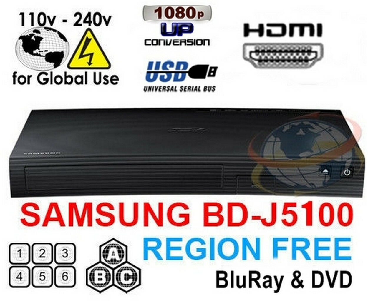 Samsung BD-J5100 Multi Zone All Region Free Blu-Ray DVD Disc