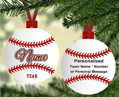 BASEBALL Christmas Ornament Personalized w/Any Name Team Jersey Number