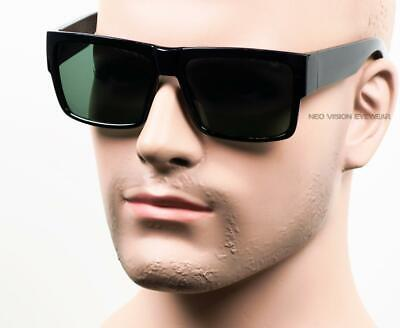 Square Cholo Sunglasses Real Glass Lens Lowrider OG LOC Style Gangster Black (Raptor Sunglasses)